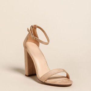 Nude Ankle Strap Block Heels